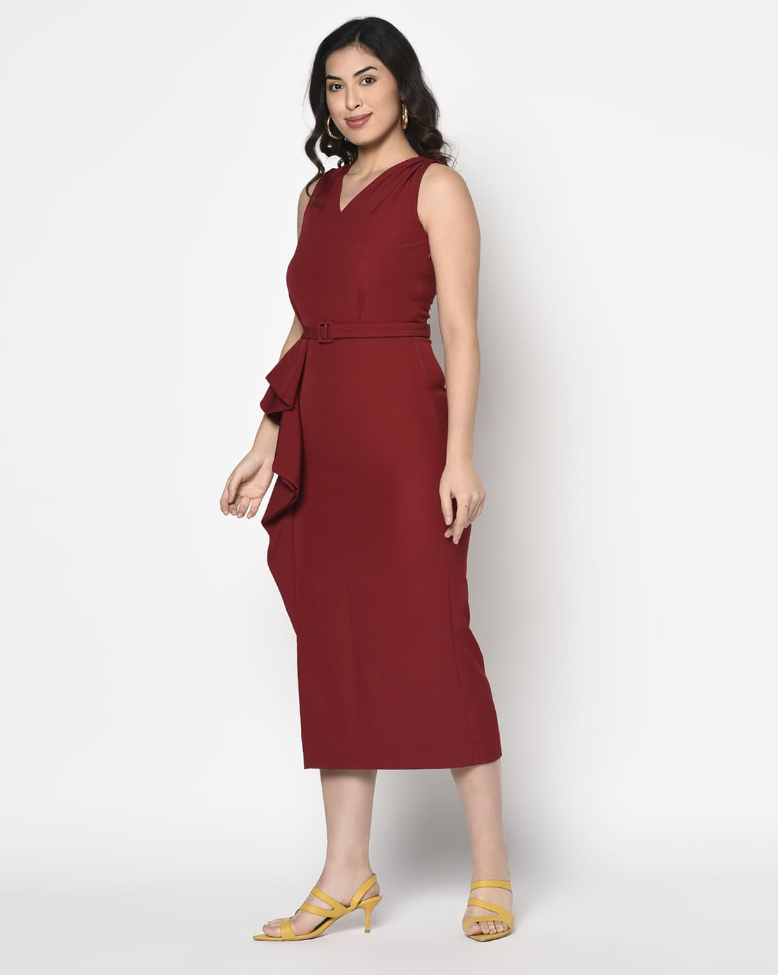 Red Crepe long ruffle Dress