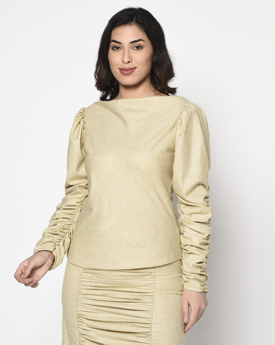khaki lime yellow gathered sleeve top