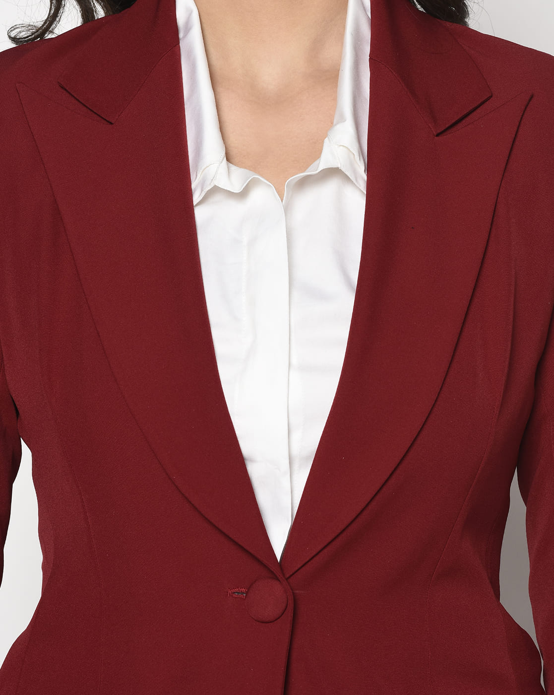 Red crepe Single Breasted Blazer