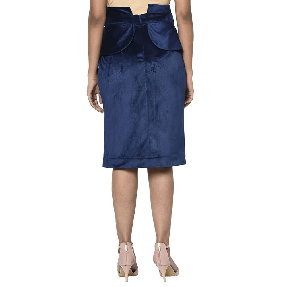 Blue Velvet Flap Skirt