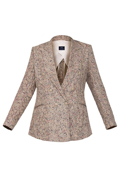 Chic Matte Gold Printed Blazer Blazer Hail Women