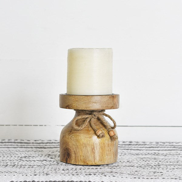 Small Chunky Wood Pillar Candle Holder with Pillar Candle