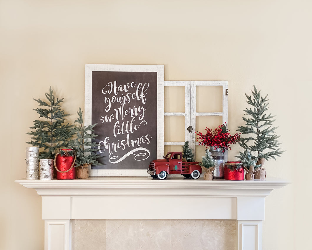 Merry Little Christmas Mantel Decor Kit