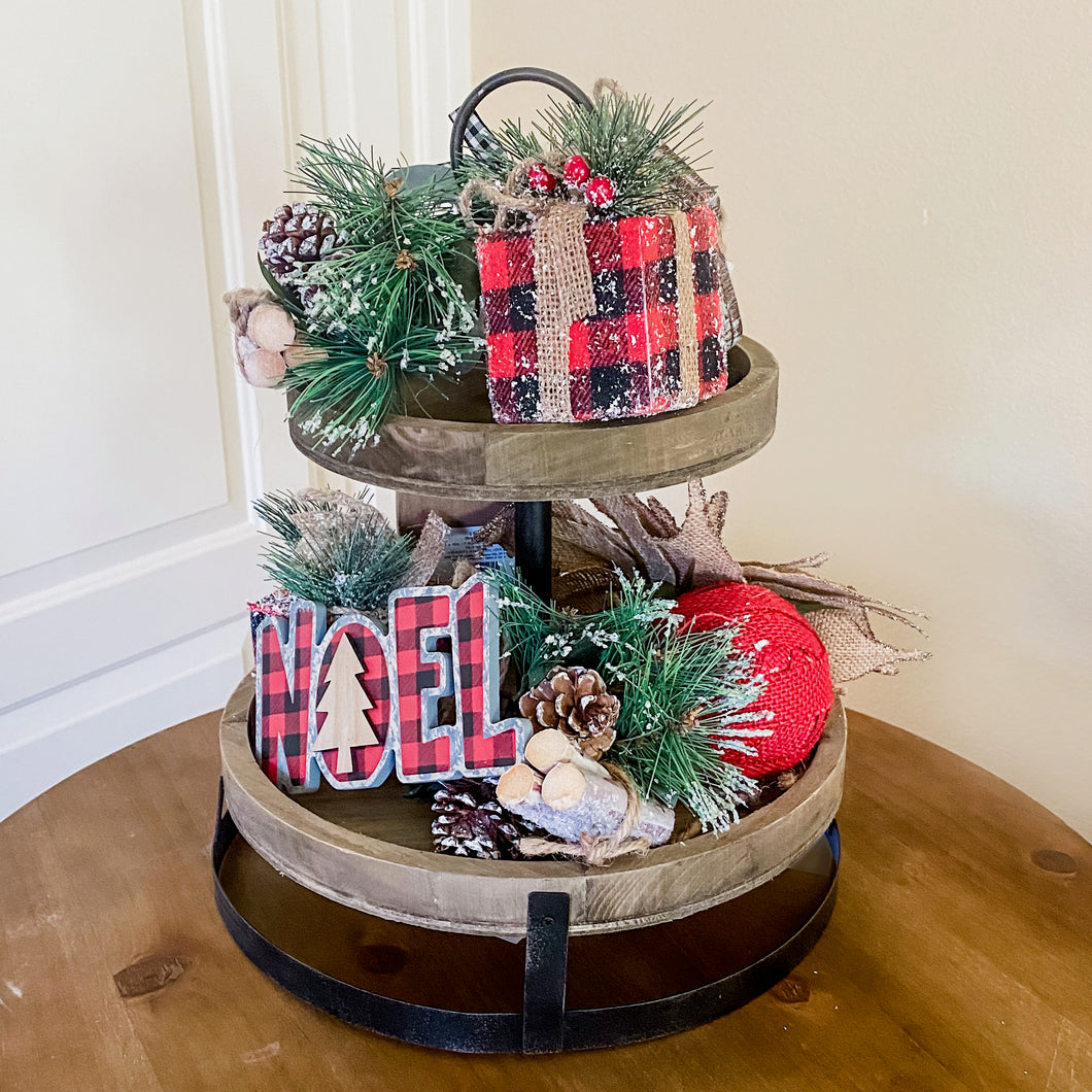 Buffalo Check Christmas Tiered Tray Kit