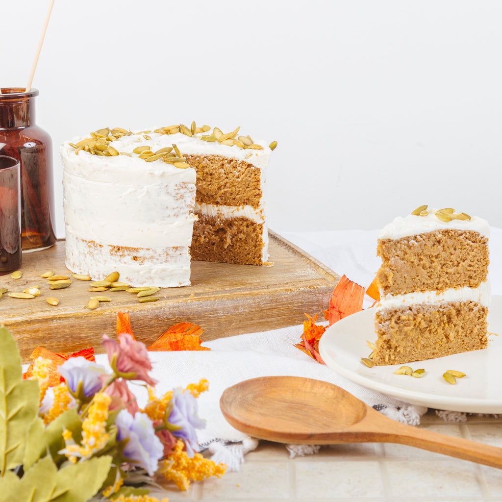 Vegan Pumpkin Cake with Vegan Cream Cheese Frosting