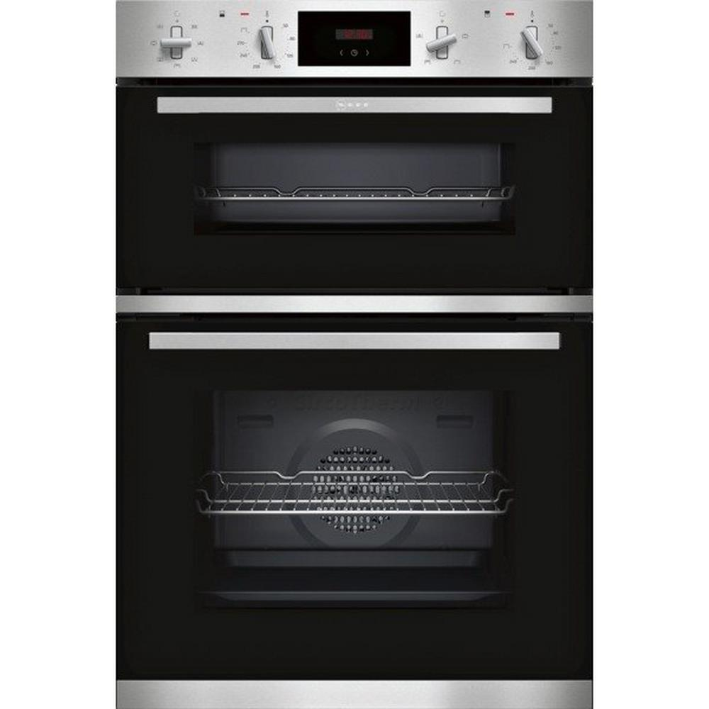 Neff U1GCC0AN0B Built In Electric Double Oven - Black & Steel - A Energy Rated