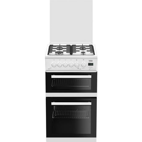 Beko EDG506W 50cm Twin Cavity Gas Cooker with Glass Lid - White