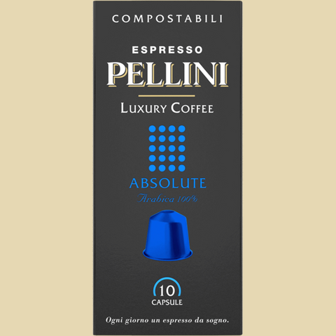 Espresso Pellini Luxury Coffee Absolute in self-protected compostable Nespresso®* compatible capsules.