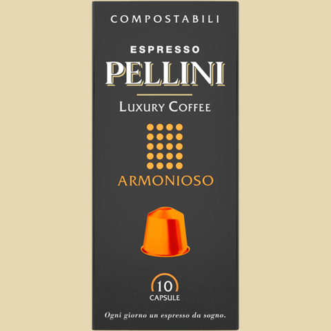 Espresso Pellini Luxury Coffee Armonioso in self-protected compostable Nespresso®* compatible capsules.