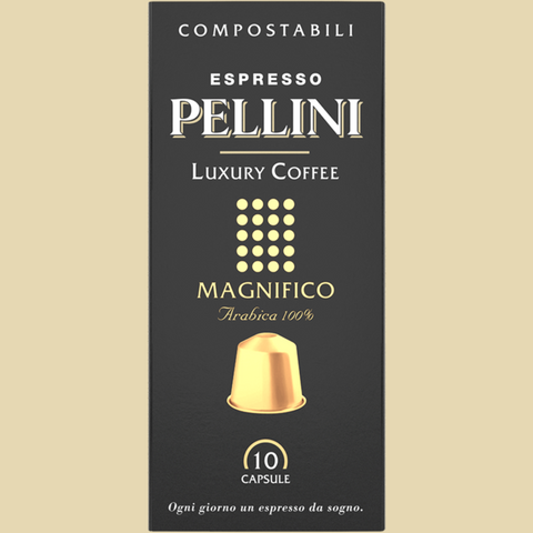 Espresso Pellini Luxury Coffee Magnifico in self-protected compostable Nespresso®* compatible capsules