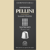 Espresso Pellini Luxury Coffee Supremo in self-protected compostable Nespresso®* compatible capsules