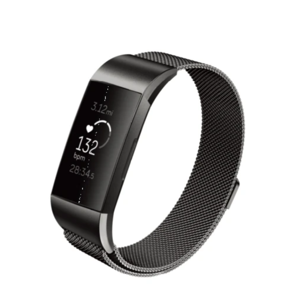 WITHit | Stainless Steel Mesh Band for Fitbit Charge 3/4 - Black - Hutton