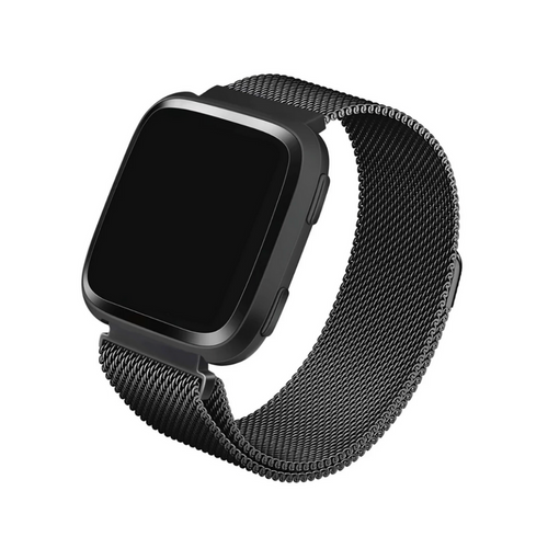 WITHit | Stainless Steel Mesh Band for Fitbit Versa/Versa 2 - Charcoal - Hutton