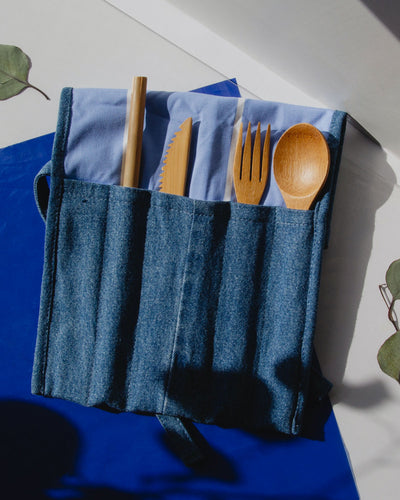 denim roll kit for cutlery. Bamboo utensils