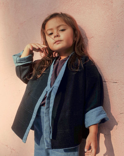 Reversible Upcycled Denim Kimono Jacket for toddlers and kids