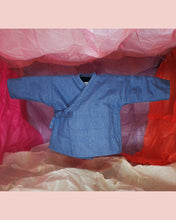 Load image into Gallery viewer, Reversible Upcycled Denim Kimono Jacket for toddlers and kids. Unisex