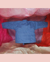 Load image into Gallery viewer, Reversible Upcycled Denim Kimono Jacket for toddlers and kids. Gender neutral