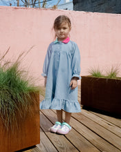 Load image into Gallery viewer, denim  wearable long-sleeve gown girl, bi colored collard