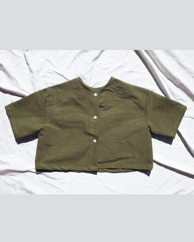 Kids  Green Button Up Top