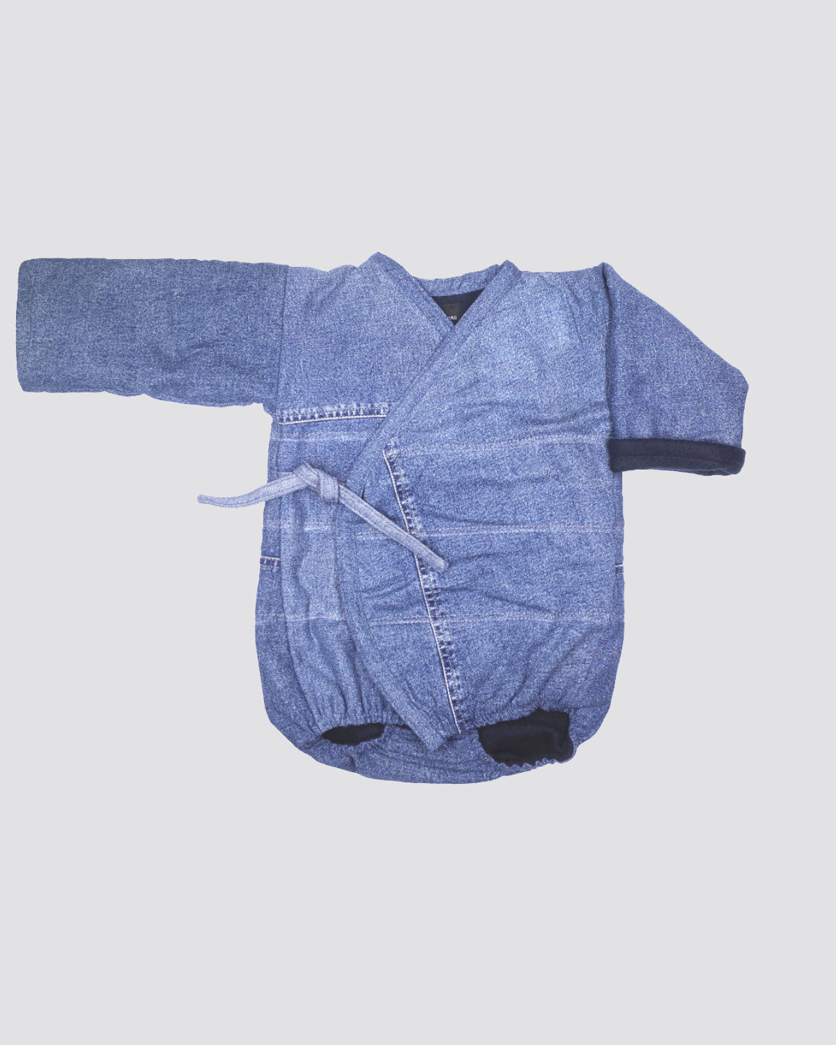 Baby Winter Kimono Onesie - Light Vintage Denim Fleece Interior