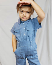 Load image into Gallery viewer, The Two pieces denim set is unisex perfect for toddlers and kids. Jumpsuit looking