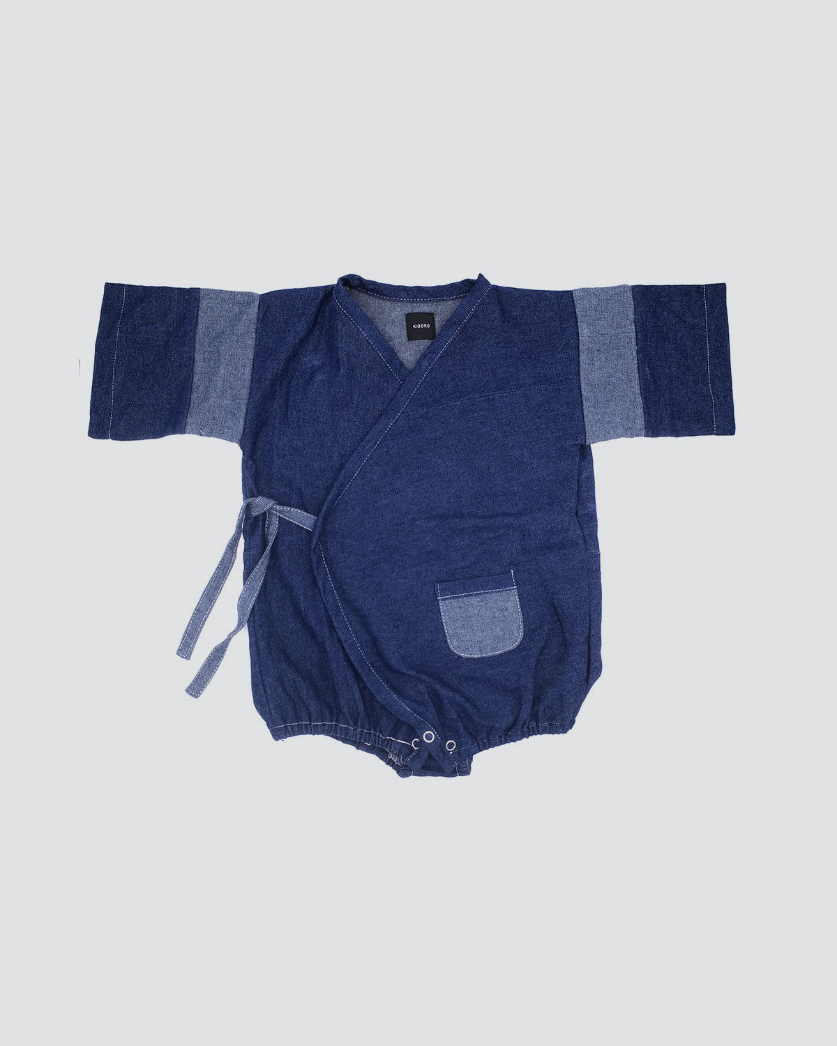 Vintage Denim Pocket Kimono Onesie - Dark Denim