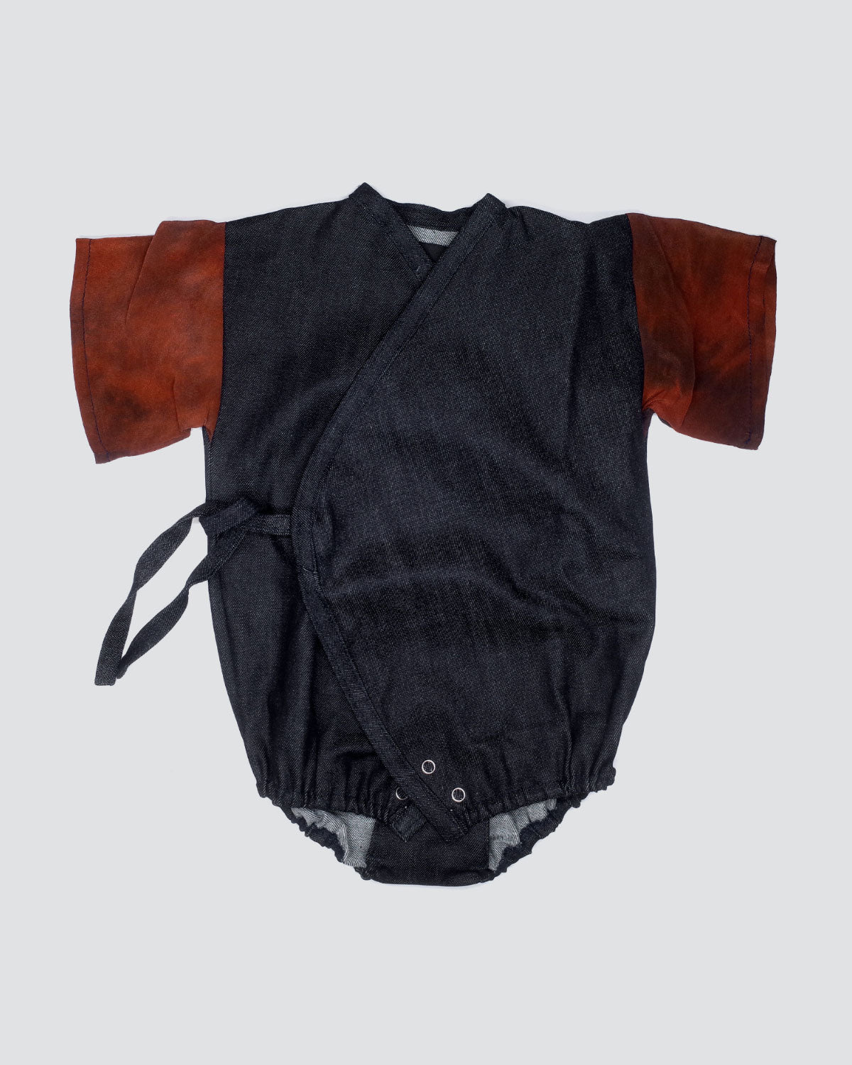 Baby denim kimono wrap with silk sleeves detail