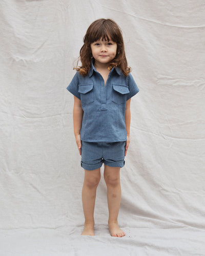 Kids toddlers denim shirt. 2 front pockets and collard