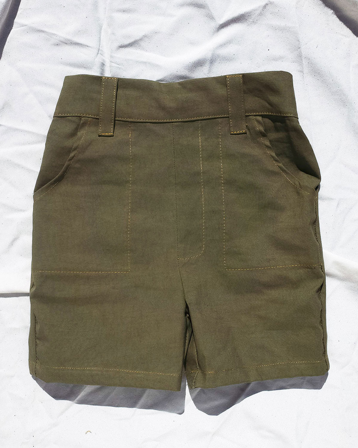 Olive green Short for toddlers and kids/ High waisted and 2 pockets.