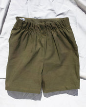 Load image into Gallery viewer, Olive green Short for toddlers and kids/ High waisted and 2 pockets.