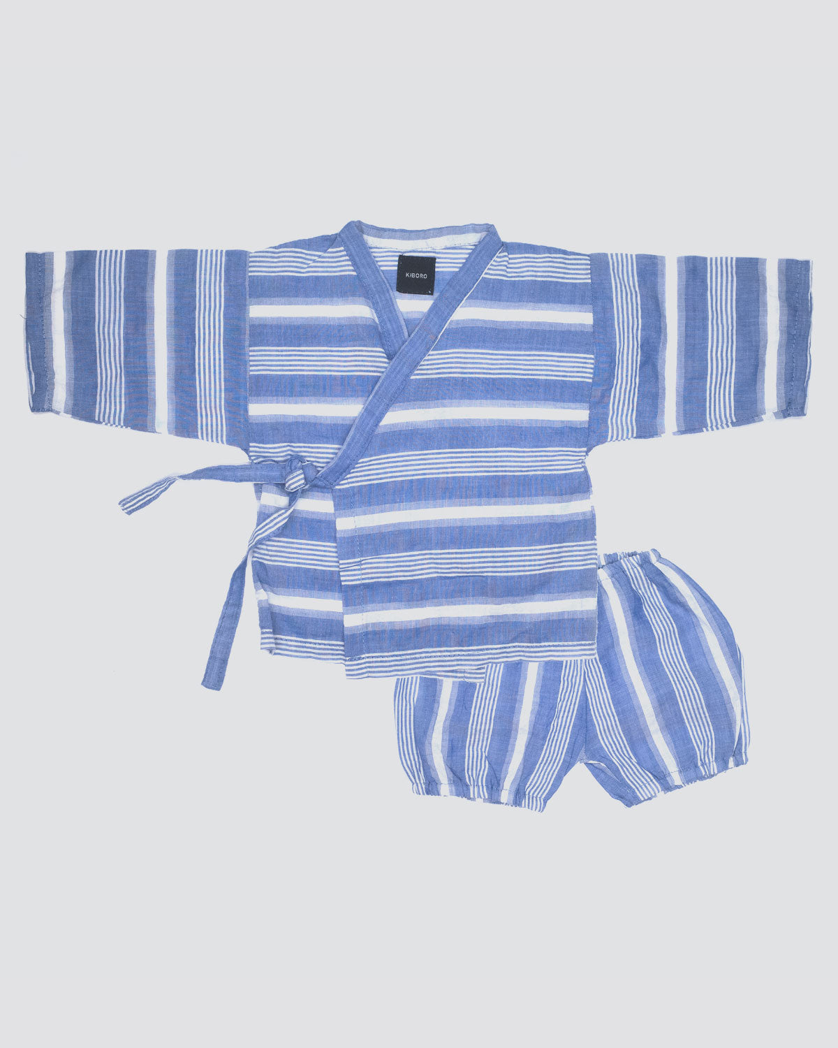 Baby kimono shirt and bloomer, Aire Set in light blue