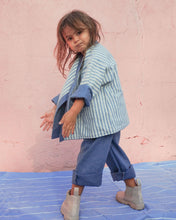 Load image into Gallery viewer, Kimono reversible jacket kids. Stripes and denim. Gender Neutral