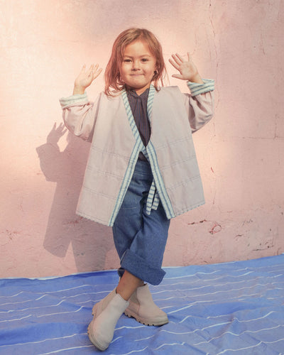 Kimono reversible jacket kids. Stripes and pink. Gender Neutral