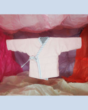 Load image into Gallery viewer, Kimono reversible jacket kids. Stripes and pink. Gender Neutral