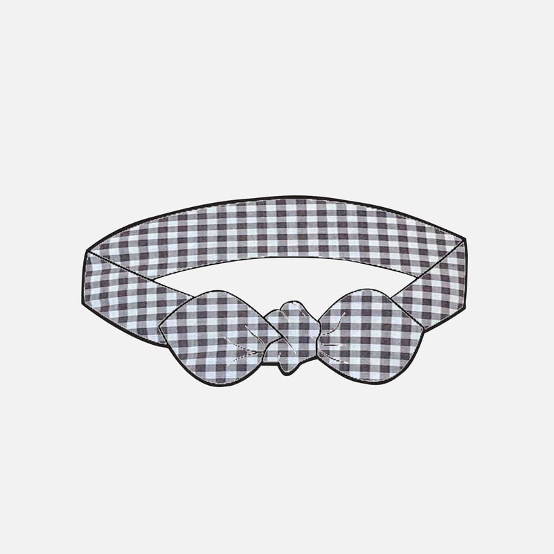 Girls Headband - Charcoal Gingham