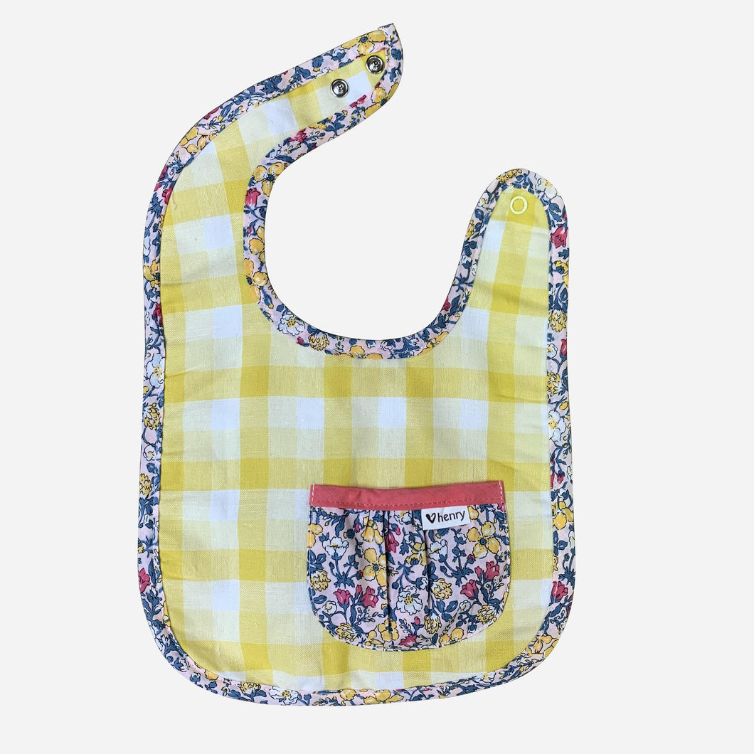 Love Henry Accessories One Size Girls Pocket Bib - Yellow Gingham - Size OS