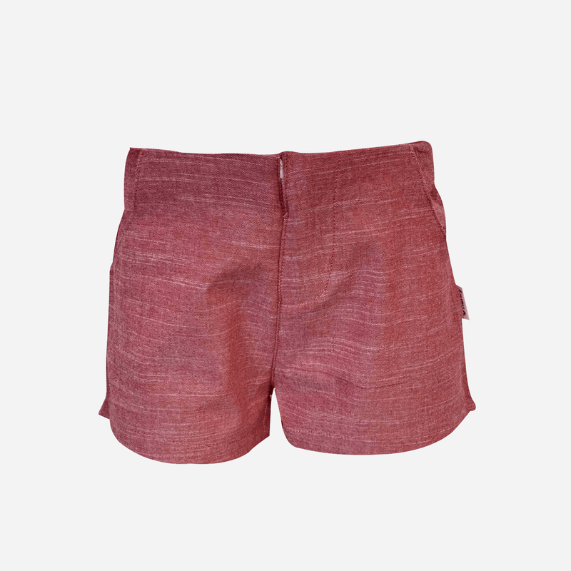 Girls Tailored Shorts - Red Linen