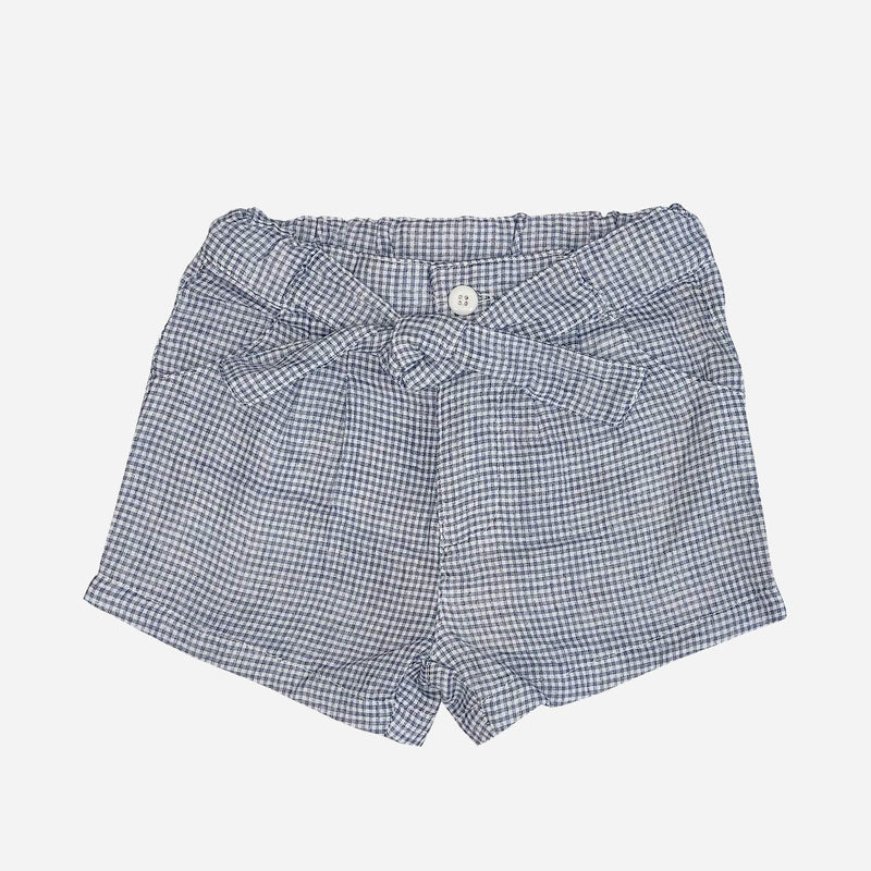 Girls Tie Waisted Shorts - Light Blue Gingham