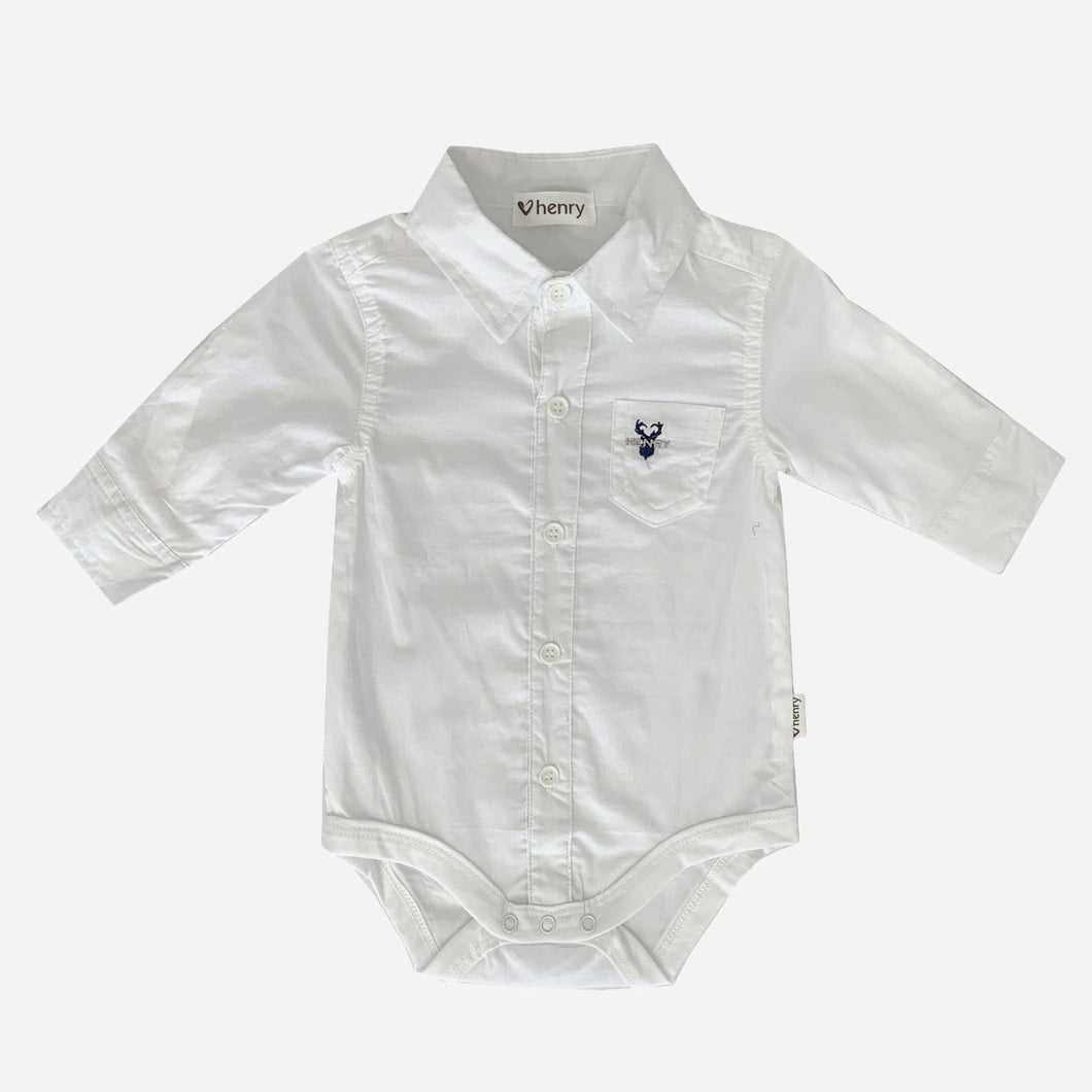 Love Henry Rompers Baby Boys Shirt Romper - White