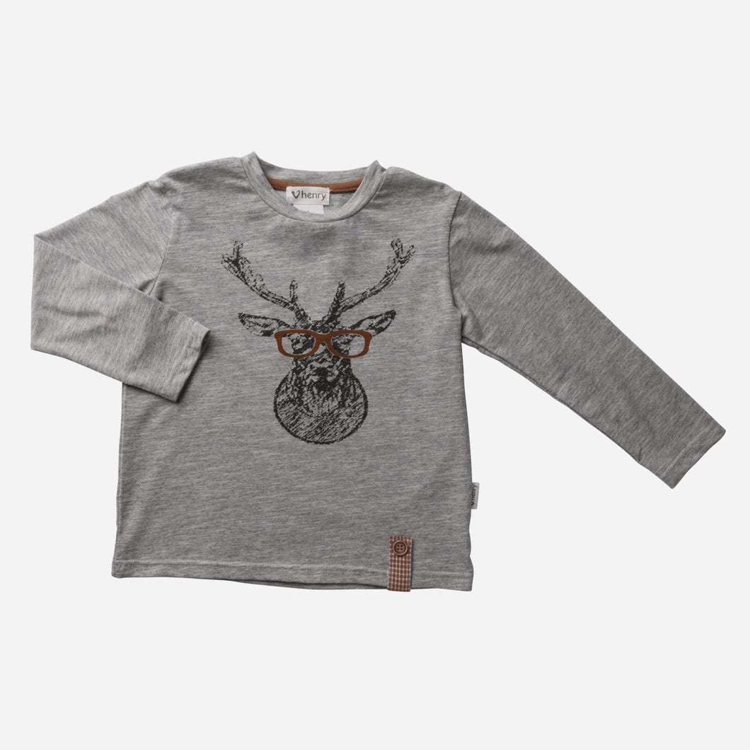 Love Henry Tops Baby Boys LS Deer Graphic Tee