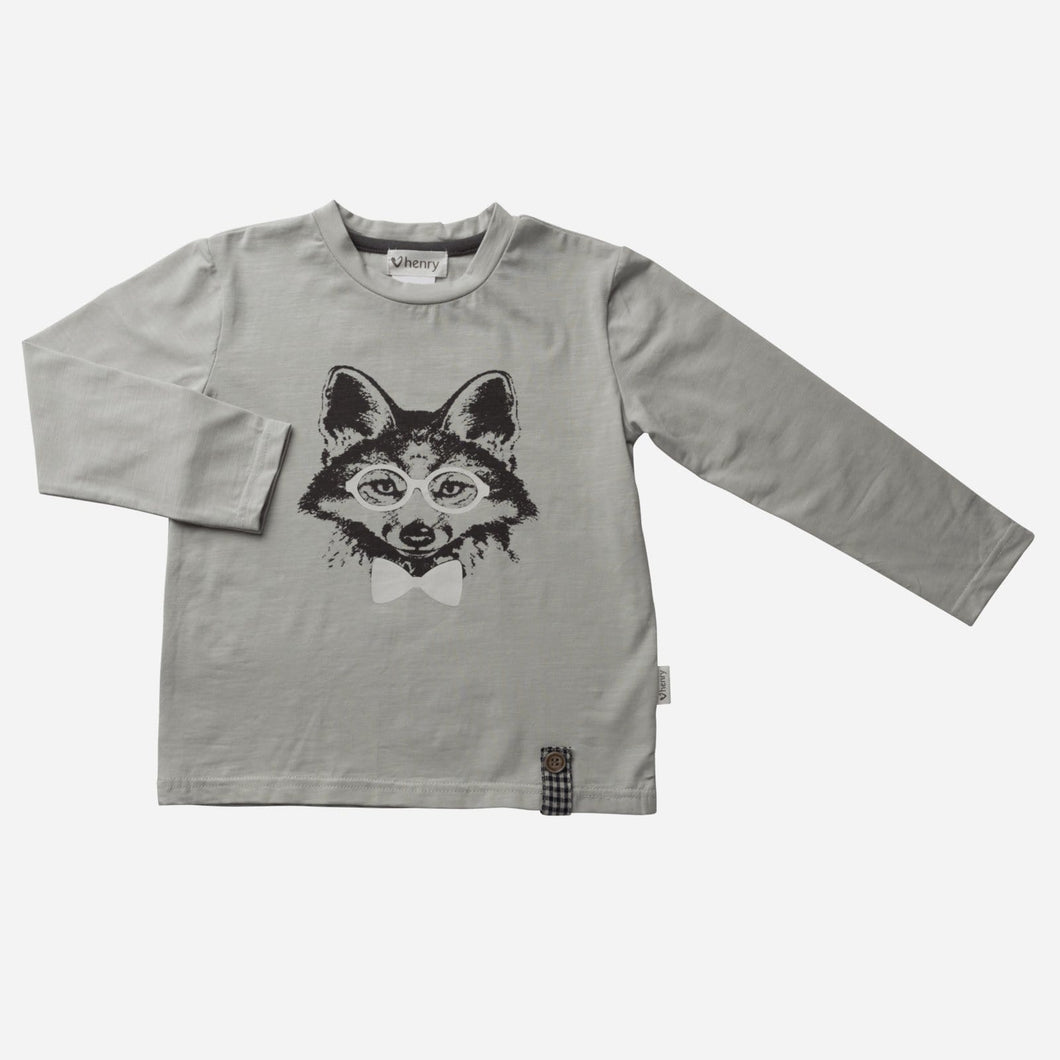 Love Henry Tops Baby Boys LS Fox Graphic Tee