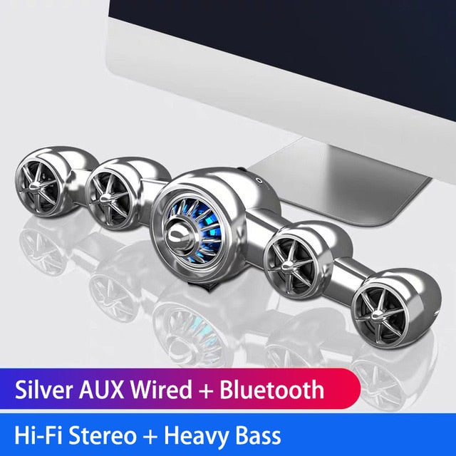 2020 Airplane Bluetooth Speaker Wireless Wired Subwoofer Support AUX Heavy Bass Desktop PC Gaming Computer Speakers for Phone
