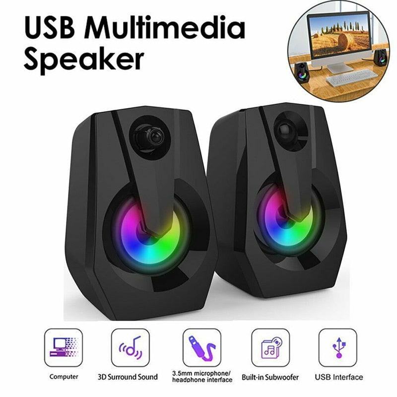 Portable LED Stereo Strong Bass Subwoofer Column Wireless Computer Speaker Sound Boom Box High Quality PC USB Speaker