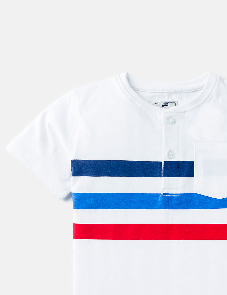 Striped Henley Pocket Tee