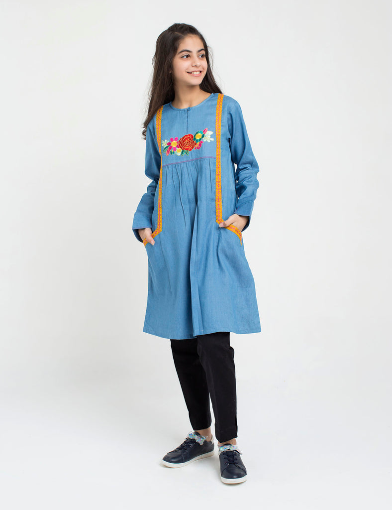 Denim Floral Emb Tunic