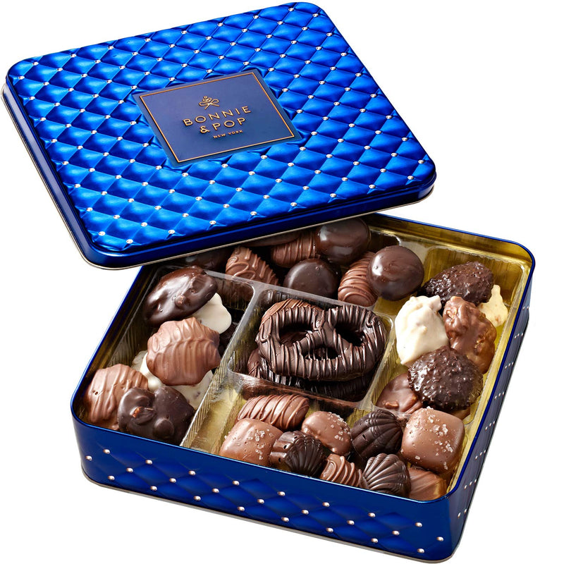 Chocolate Lovers Gourmet Gift Basket in Elegant Blue Keepsake Tin