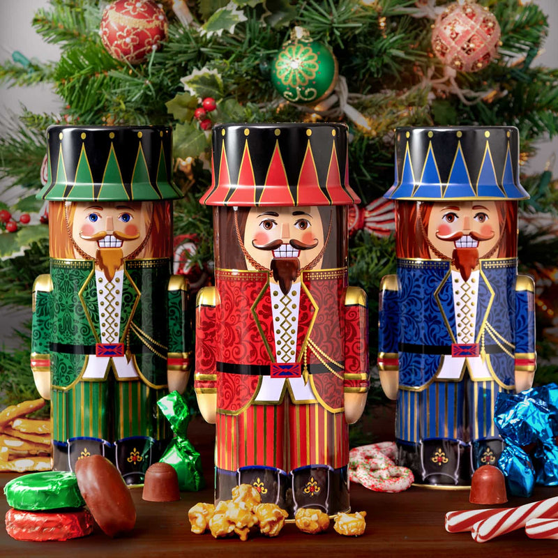 Chocolate Popcorn Gift Basket in 3 Nutcracker Toy Soldier Tins
