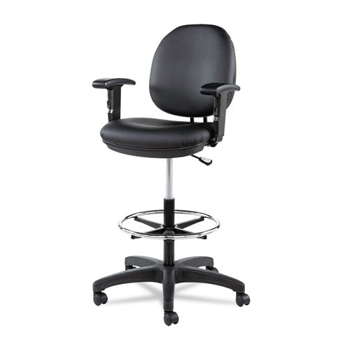 "Alera Interval Series Swivel Task Stool, 33.26"" Seat Height, Supports Up To 275 Lbs, Black Seat-black Back, Black Base"