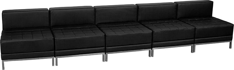 Black Leather Lounge Set, 5 PC