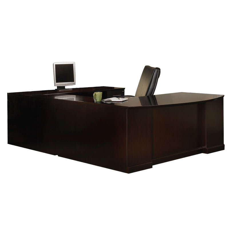 Sorrento Executive U Bowfront, Right Bridge, 2 Pencil/Box/File Pedestals